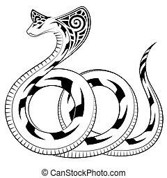 serpiente, vector, cobra