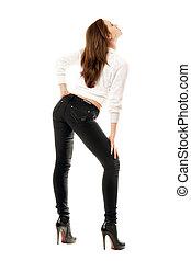 serré, girl, jean, joli, noir