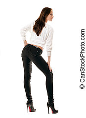 serré, girl, jean, séduisant, noir
