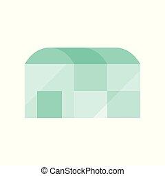 serra, appartamento, disegno, icona, agricoltura, concetto