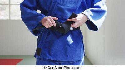 serrage, ceinture, noir, judoka