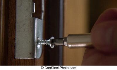 serrage, mains, bois, lock., porte, fin, réparateur, boulon...