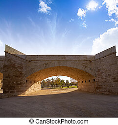 Serrano bridge in Valencia in Turia park Spain
