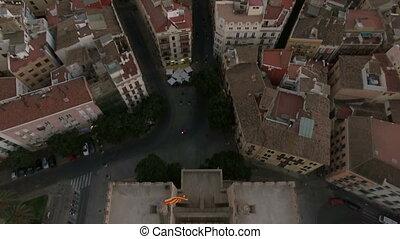 Serranos Towers and Valencia cityscape, aerial shot - Aerial...