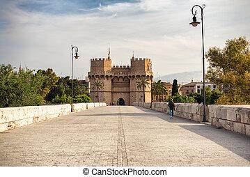 Serranos towers in Valencia, Spain, from Puente de Serranos bridge