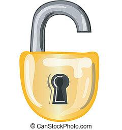 serratura, aperto, icona