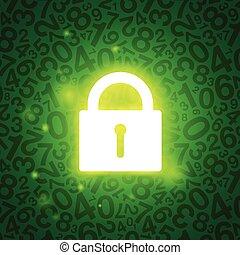 serratura, ardendo, verde