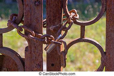 serratura, arrugginito, vecchio, porta, catena