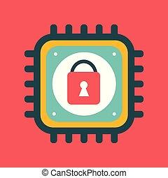 serratura, cyber, segno, vettore, sicurezza, cpu, icona