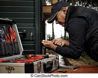 serratura, door., carpentiere, lavorativo, sostituzione