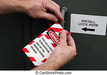 serratura, etichetta, fuori, pericolo
