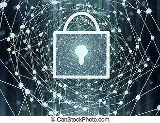 serratura, fondo, digitale