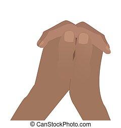 serratura, mani piegate