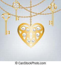 serratura, modellato, chiave, cuore