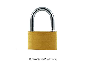 serratura, ottone, bianco, aperto, isolato