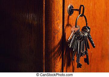 serratura porta, chiavi, vecchio
