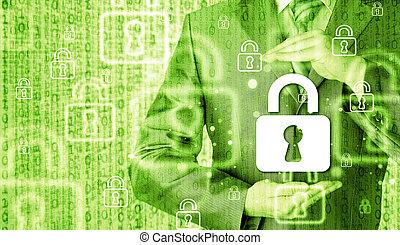 serratura, sicurezza, concetto, proteggere, uomo affari