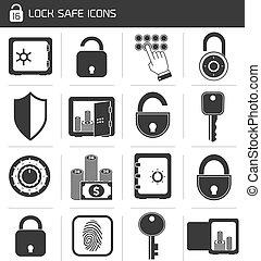 serratura, sicuro, set, icona