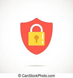 serratura, vettore, scudo, icona