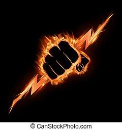 serre, poing, brûlé, éclair