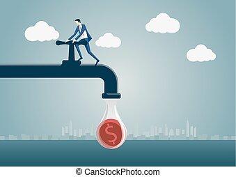 serrer, concept, business, argent, character., dollar, économie, illustration, une, robinet, vecteur, serrage, homme, réduction, pipeline., belt., on, dessin animé, dehors