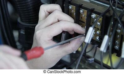 serrer, electical, installation, tournevis, usine, cabinet, ingénieur, boîte, fusible, écrou, électricien, câbles, contrôle