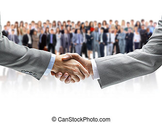 serrer main, et, equipe affaires