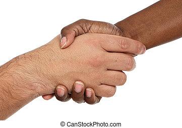 serrer main, mâle, caucasien, africaine