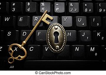 serrure, clef informatique, clavier