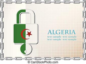 serrure, drapeau, fait, algérie, logo