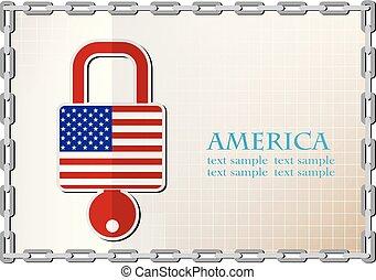 serrure, drapeau, fait, amérique, logo
