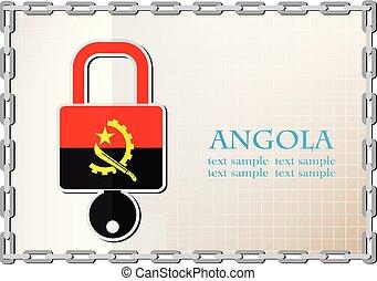 serrure, drapeau, fait, angola, logo