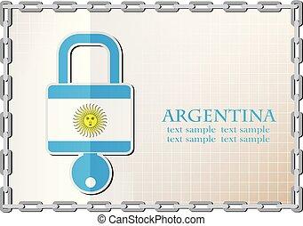 serrure, drapeau, fait, argentine, logo