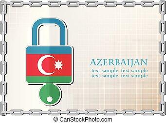 serrure, drapeau, fait, azerbaïdjan, logo