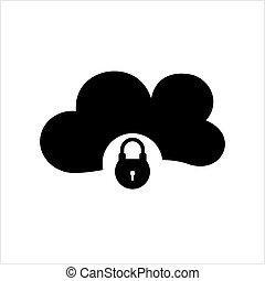 serrure, nuage, icône