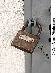 serrure porte, métal, cadenas, protection, fermé, sécurité