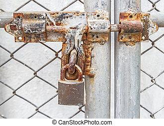 serrure porte, métal, cadenas, protection, sécurité