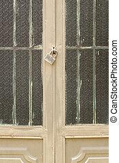 serrure porte, métal, protection, fermé, sécurité