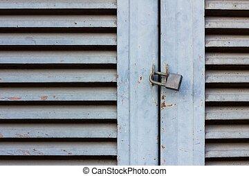 serrure porte, vieux, bois, clã©, fin