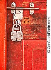 serrure porte, vieux, rouges