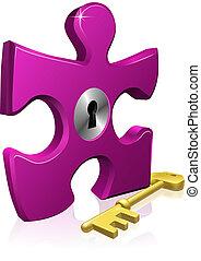 serrure, puzzle, clã©, morceau