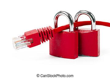 serrure, réseau, câble