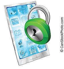 serrure, sécurité, concept, icône, téléphone