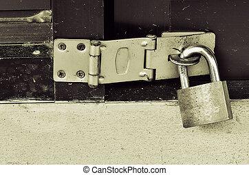 serrure, sécurité, porte, métal, fermé