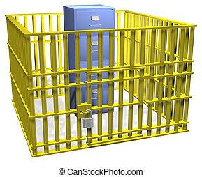 serrure, sûr, cabinet, données, fichier, sécurité, cage