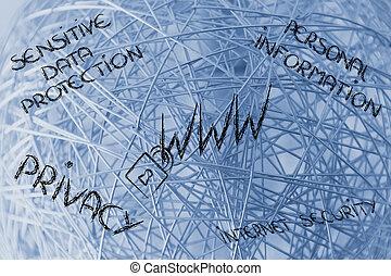 serrure, sur, www, symbol:, sécurité internet, &, risques, pour, confidentiel, je