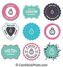serrure, symbole., casier, enfant, sourire, icon.