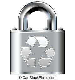serrure, symbole, recyclage, assurer