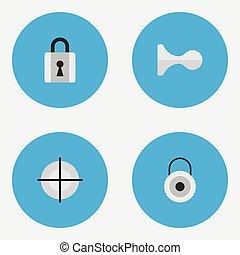 serrure, vecteur, autre, fermé, close., icons., synonyms, éléments, ensemble, cerf, offense, chasse, tireur embusqué, simple, illustration