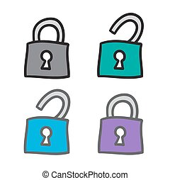 serrures, icône, ensemble, vecteur, ligne, griffonnage, symboles